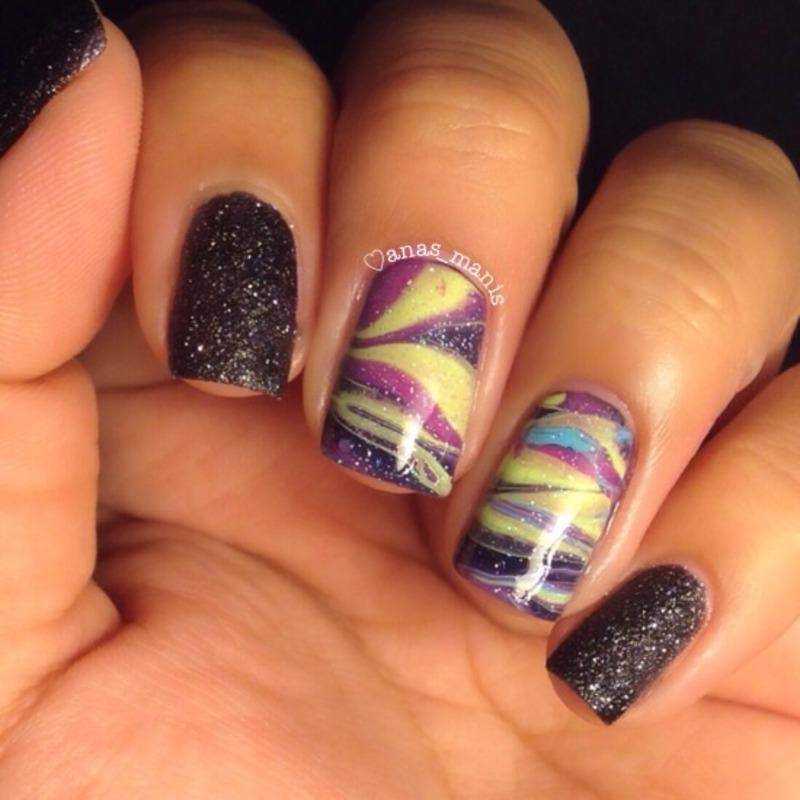 Aurora Borealis watermarble  nail art by anas_manis