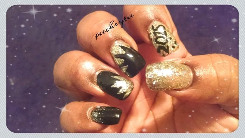 Gold n black New years nails nail art by peecheytee