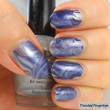 Silver and blue water marble nail art by Kerry_Fingertips