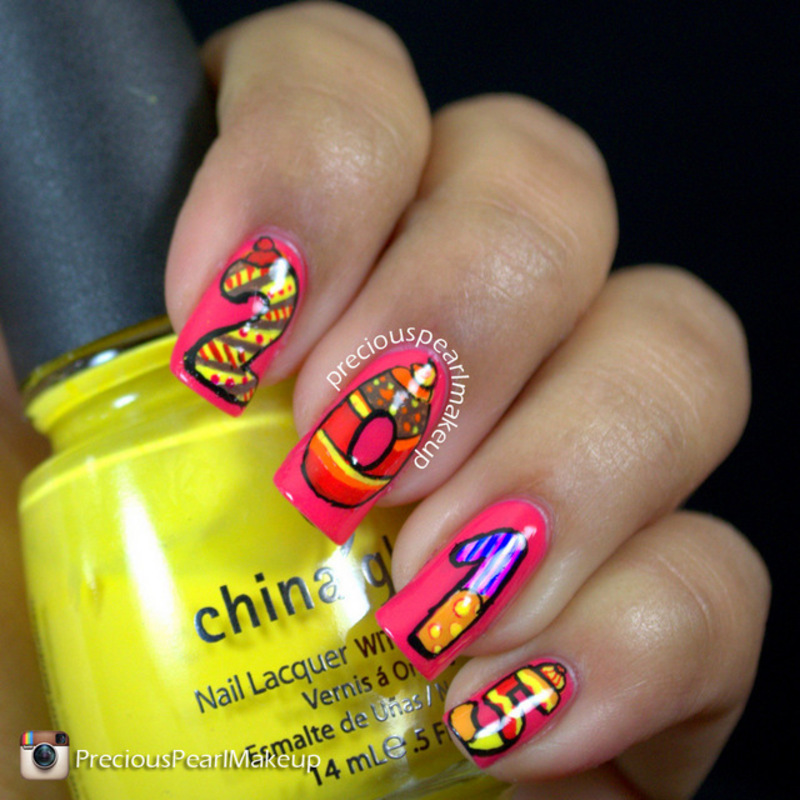 New Year Cookie Nails nail art by Pearl P.