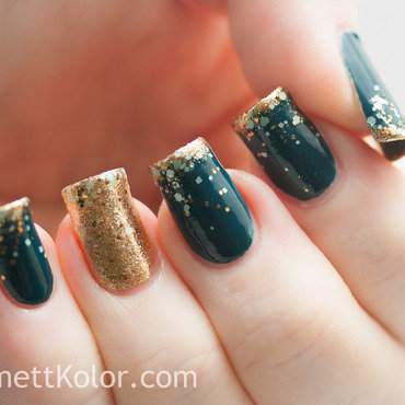 Mint Teal be Gold for New Year's Eve nail art by Kimett Kolor