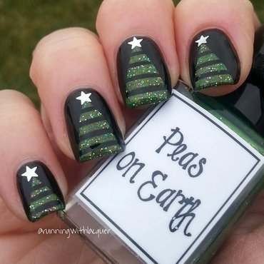 Christmas Trees nail art by Debbie D