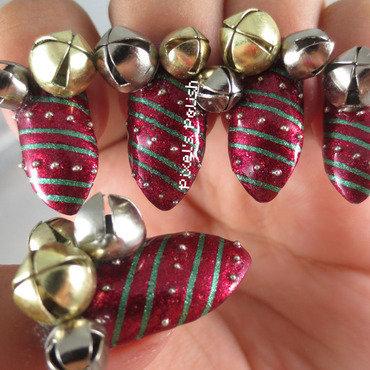 Jingle Bells nail art by Pixel's Polish
