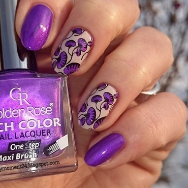 Purple nails nail art by T. Andi