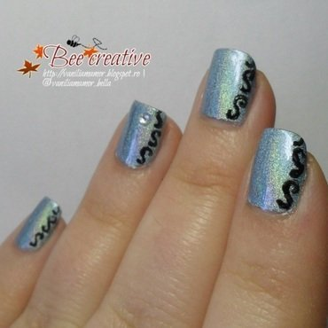 Blue holo nail art by Isabella
