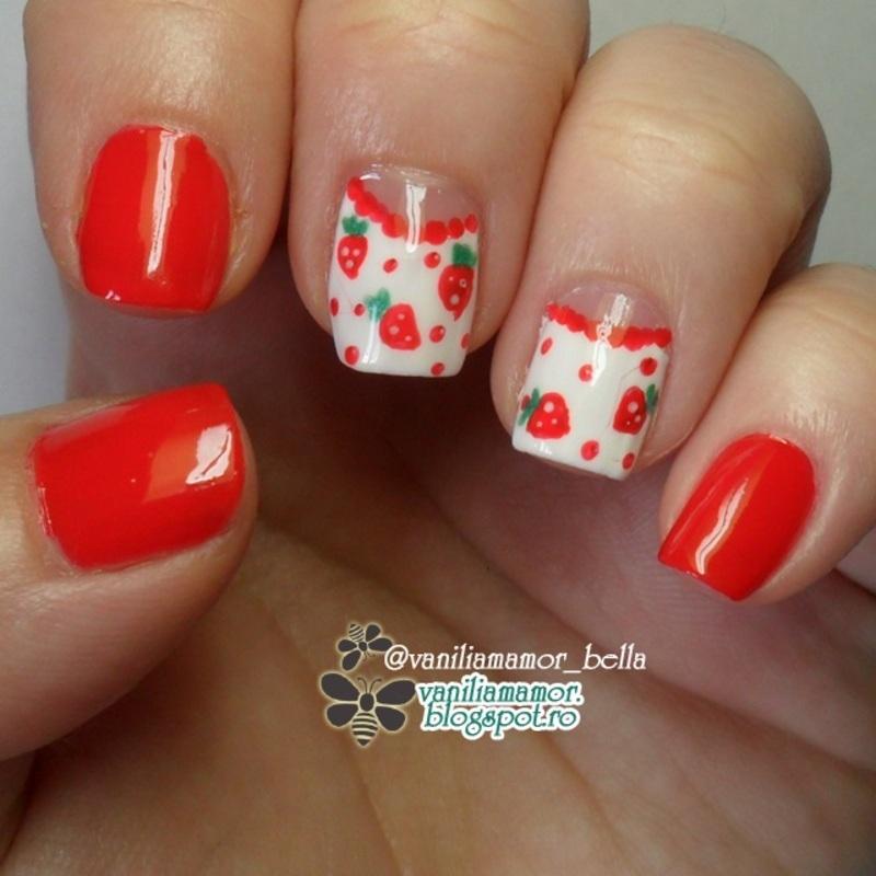 Half moon with strawberries nail art by Isabella