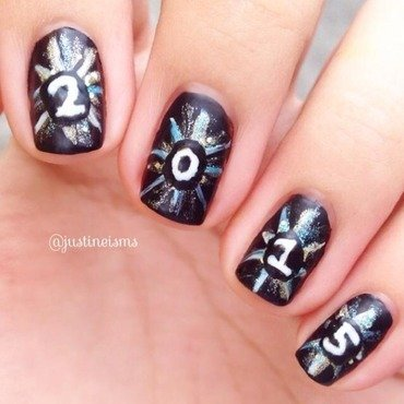 2015 Fireworks nail art by ℐustine