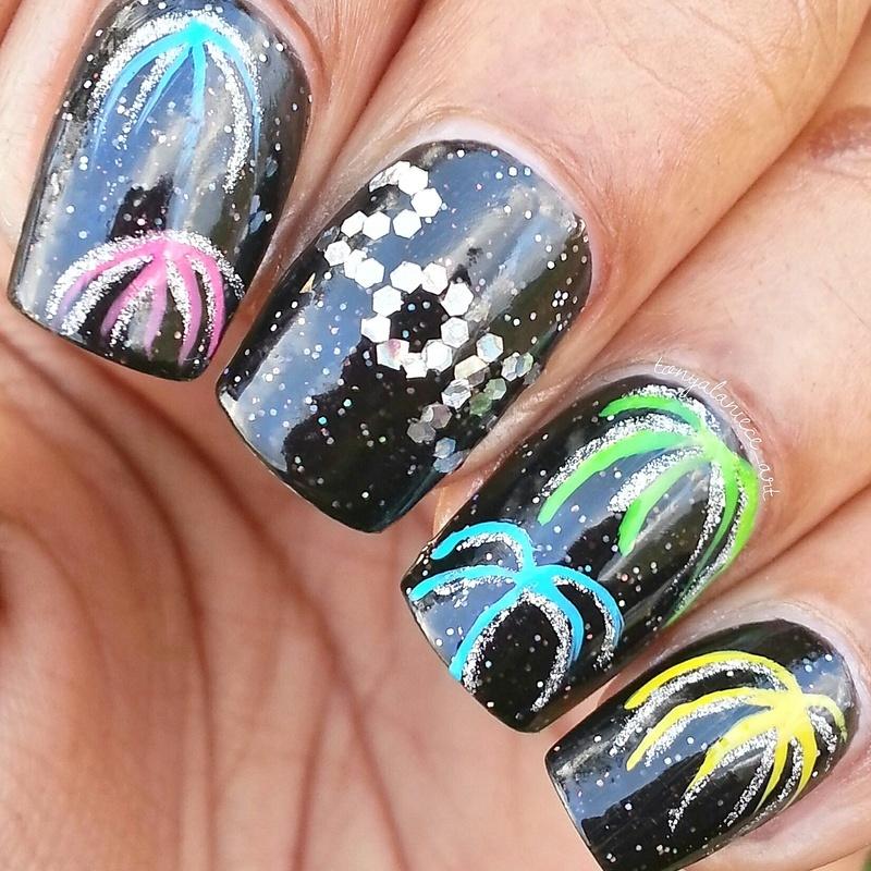 Happy New Year!! 🎉🎆 nail art by Tonya