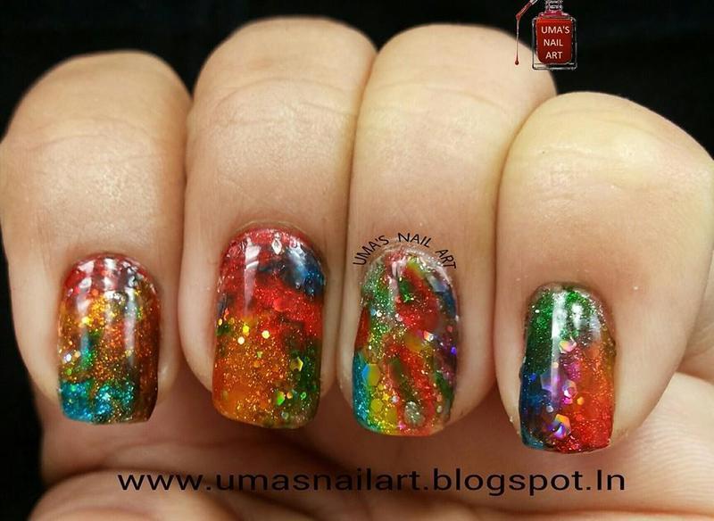 Squishy Rainbow nail art by Uma mathur