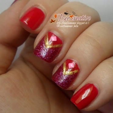 Red with pink nail art by Isabella