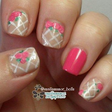 Roses on wall nail art by Isabella