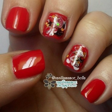 Red with needle marble nail art by Isabella