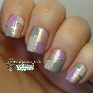 Pastel colorblock nail art by Isabella