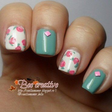 Pink roses with some mint nail art by Isabella