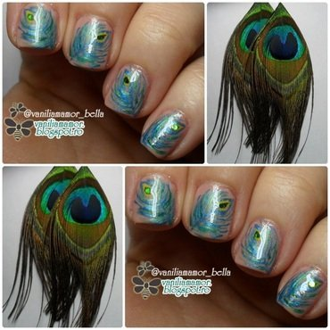 Peacock nail art by Isabella