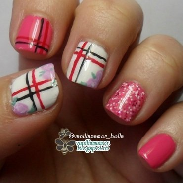 Plaid with roses nail art by Isabella