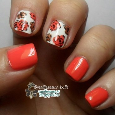 Autumn roses nail art by Isabella