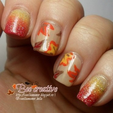 leaves nail art by Isabella