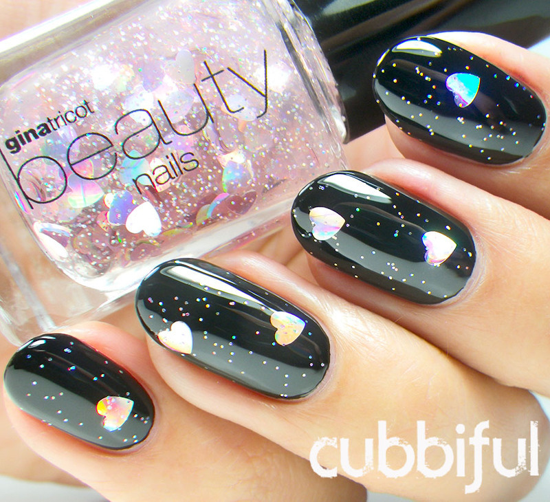 Hearts & Glitter  nail art by Cubbiful