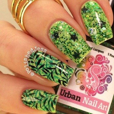 Leafy Green  nail art by PolishedJess