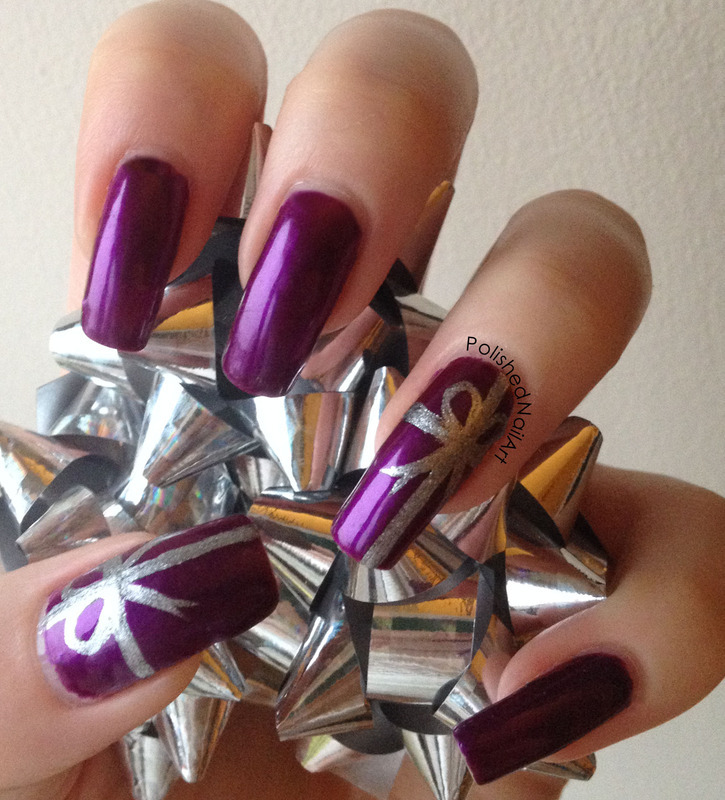 Gift wrapped nail art by Carrie