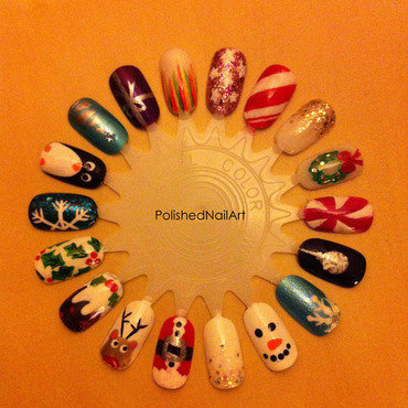 Christmas nail wheel nail art by Carrie