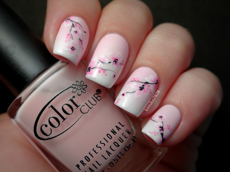 Pink Gradient with Cherry Blossoms nail art by Kim