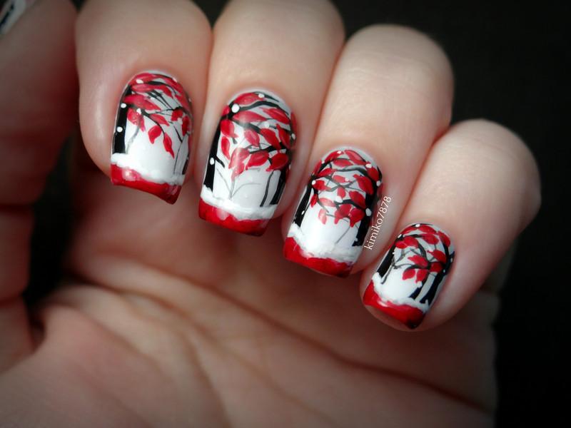Red Winter Wonderland nail art by Kim