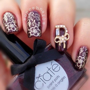 Marsala and Oriental Blooms nail art by Debbie
