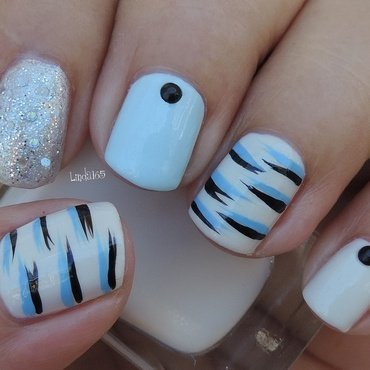Blue Tiger nail art by Iliana S.