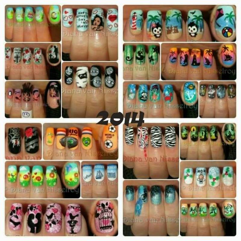 Some of my 2014 mani's nail art by Diana van Nisselroy