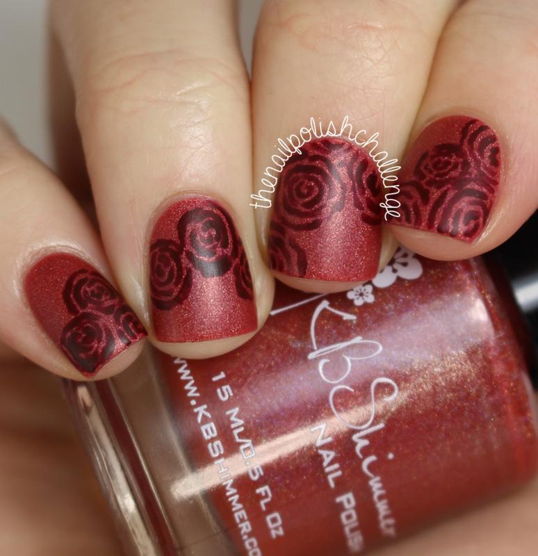 Marsala Roses nail art by Kelli Dobrin