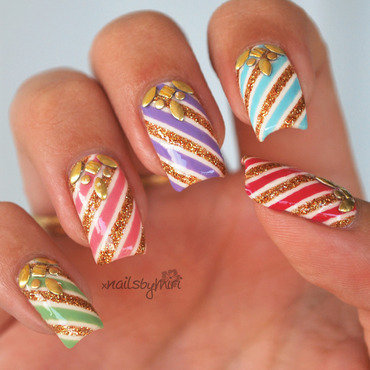 Party Stripes nail art by xNailsByMiri