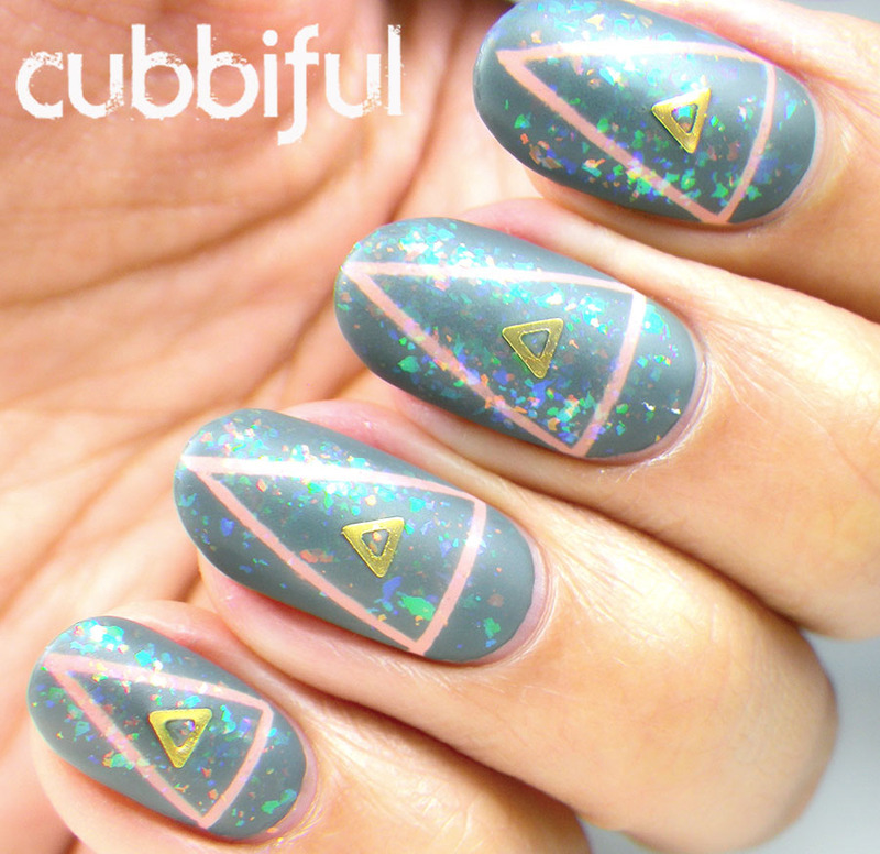 Triangle Matte Flakies nail art by Cubbiful