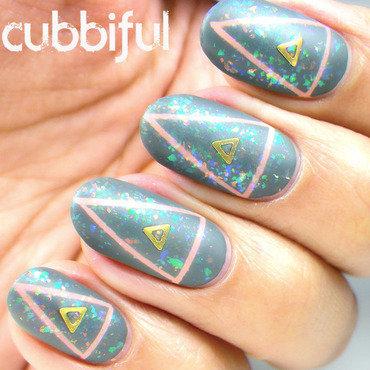 Triangle Matte Flakies nail art by Cubbiful