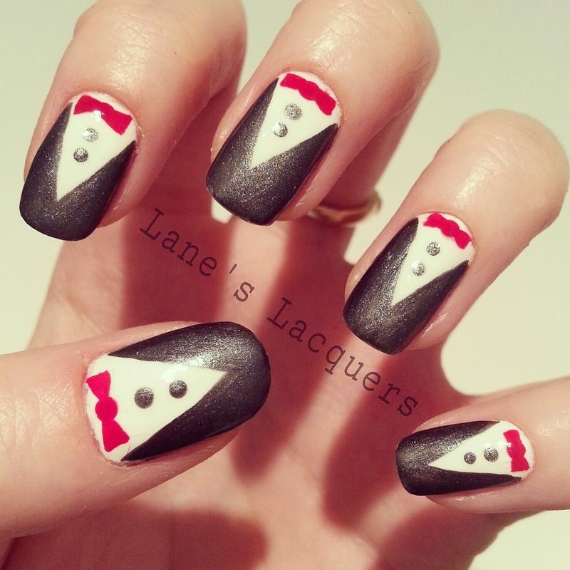 Tuxedo's nail art by Rebecca