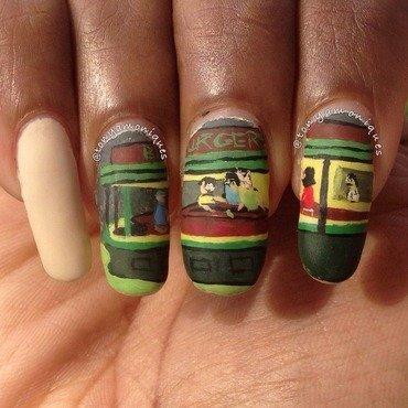 Night Burgers nail art by Tonya Simmons