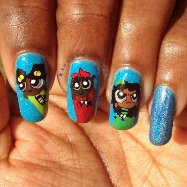 The Other PowerPuff Girls nail art by Tonya Simmons