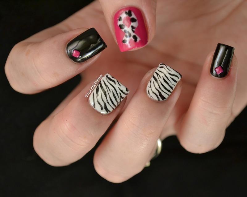 NET Cancer Awareness nails nail art by Emma B
