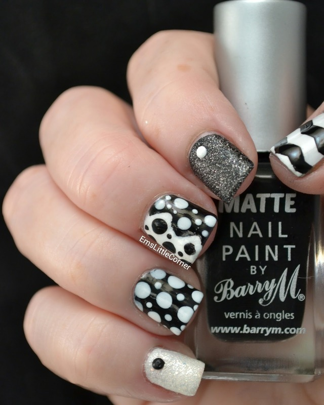 Black and White Skittlr nail art by Emma B