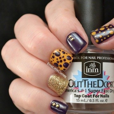 Purple and Gold skittle nail art by Emma B