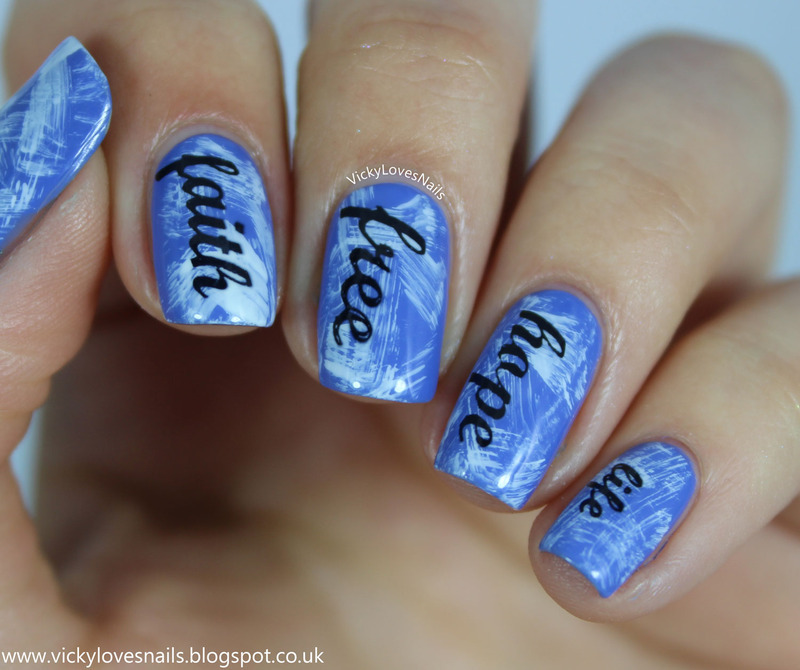 Inspiring Words Stamping nail art by Vicky Standage
