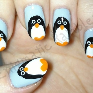 Penguins nail art by Enigmatic Rambles