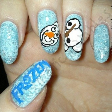 Disney's Frozen Olaf Nails nail art by Enigmatic Rambles