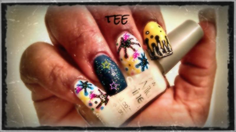 Graffiti splatter nail art nail art by peecheytee