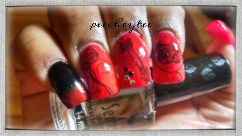 Black and red nail tattoo nailart nail art by peecheytee