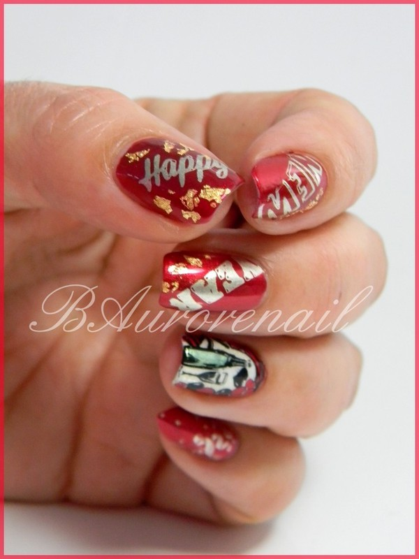 Happy New Year nail art by BAurorenail