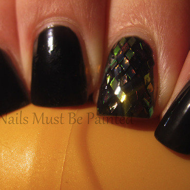 Glitter Placement nail art by Emily