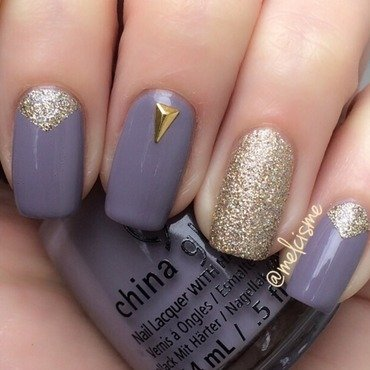 Pretty purple & gold nail art by Melissa