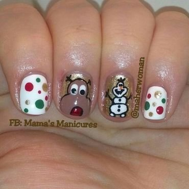 Rudolph and Olaf nail art by Mama's Manicures (maherwoman)